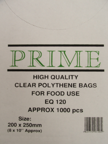 Clear Poly Bags 250mmx375mm 120 Gauge